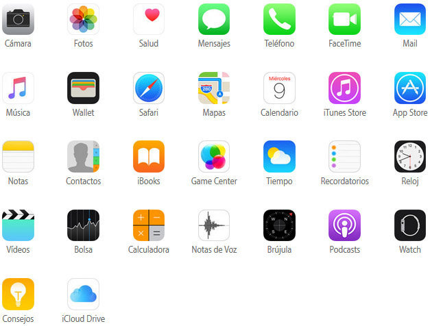 Apps integradas en el iPhone 6S